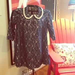 """Anthropologie """"By Stella"""" Lace Lined Pearls Coat"""